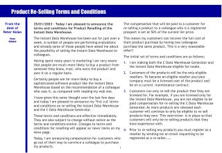 Product Re-Selling Terms and Conditions