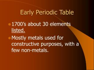 Early Periodic Table