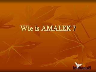 Wie is AMALEK ?