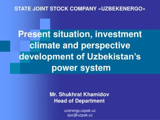 Present situation, investment climate and perspective development of Uzbekistan�s  power system