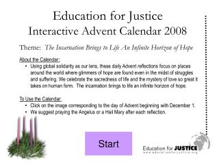 Education for Justice Interactive Advent Calendar 2008