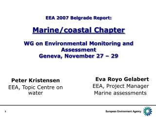 Eva Royo Gelabert EEA, Project Manager Marine assessments