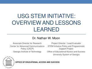 USG STEM INITIATIVE: Overview and Lessons Learned