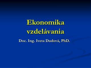 Ekonomika vzdelávania