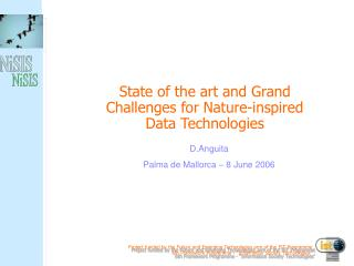 State of the art and Grand Challenges for Nature-inspired Data Technologies