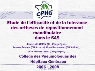 Francis MARTIN (CH Compiègne)  Antoine Geraads (CH Auxerre), Lionel Lerousseau (CH Antibes),