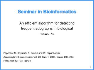 Seminar in Bioinformatics