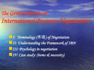 The General Review of International Business Negotiation