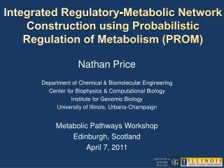 Nathan Price Department of Chemical & Biomolecular Engineering