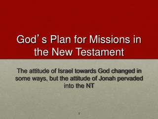 God ' s Plan for Missions in the New Testament