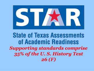 Supporting standards comprise 35% of the U. S. History Test 26 (F)