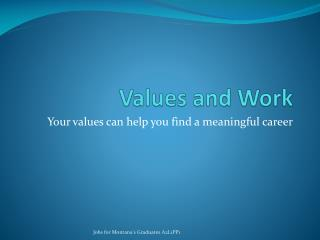 Values and Work