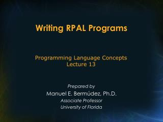 Writing RPAL Programs