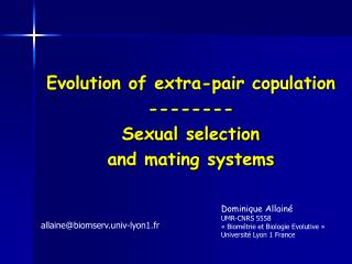 Evolution of extra-pair copulation -------- Sexual selection and mating systems