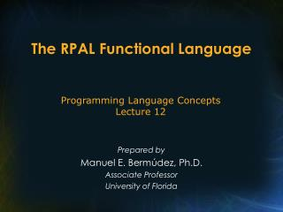 The RPAL Functional Language