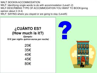 WALT: BOOKIN ACCOMMODATION WILF: Identifying single words to do with accommodation (Level1-2)