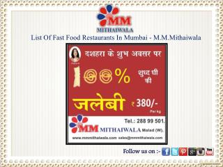 List Of Fast Food Restaurants In Mumbai - M.M.Mithaiwala