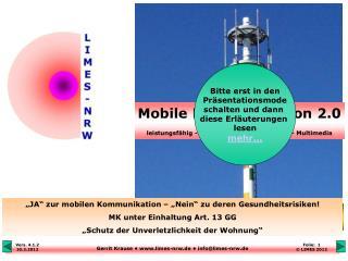 """""""JA"""" zur mobilen Kommunikation – """"Nein"""" zum hochfrequenten Elektrosmog !"""
