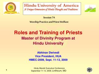Hindu University of America A Unique Dimension of Hindu Thought and Traditions