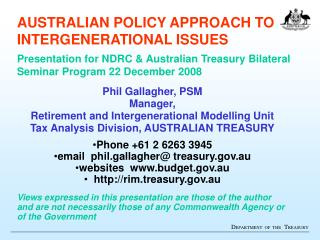 Phil Gallagher, PSM Manager,  Retirement and Intergenerational Modelling Unit