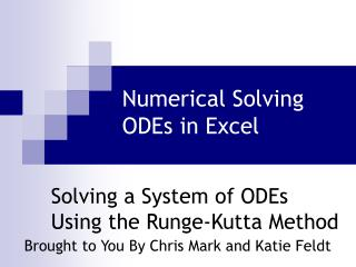 Numerical Solving ODEs in Excel