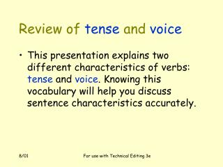 Review of tense and voice