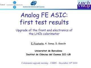 Calorimeter upgrade meeting – CERN – December 10 th  2010