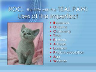 ROC:   the kitty with the  TEAL PAW: Uses of the Imperfect