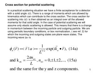 Cross section for potential scattering