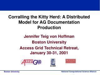 Corralling the Kitty Herd: A Distributed Model for AG Documentation Production