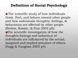 Definition of Social Psychology