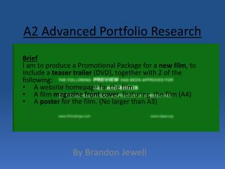 A2 Advanced Portfolio Research