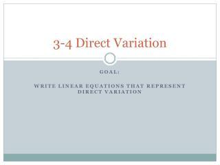 3-4  Direct Variation