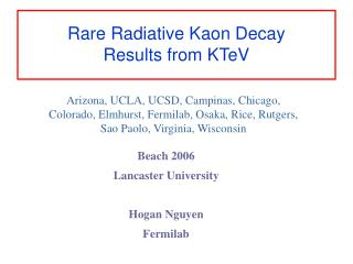 Rare Radiative Kaon Decay Results from KTeV