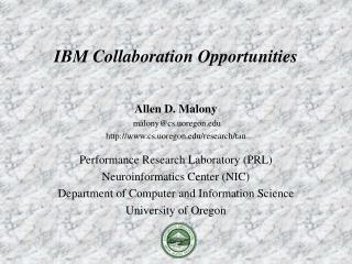 Allen D. Malony  malony@cs.uoregon cs.uoregon/research/tau