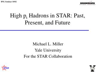 High p t  Hadrons in STAR: Past, Present, and Future