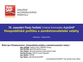 Hospodářská politika a zaměstnavatelské vztahy Průhonice, 1. března 2012