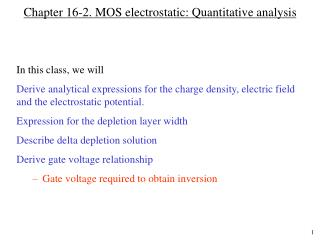 Chapter 16-2. MOS electrostatic: Quantitative analysis