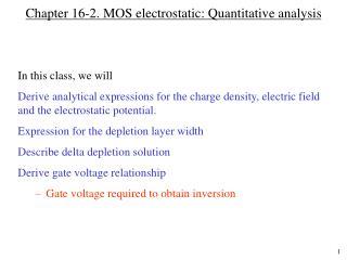 Chapter 16-2. MOS electrostatic: Quantitative analysis