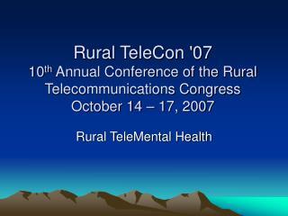 Rural TeleMental Health