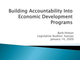 Building Accountability Into Economic Development Programs