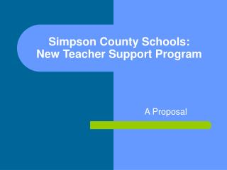 Simpson County Schools: New Teacher Support Program