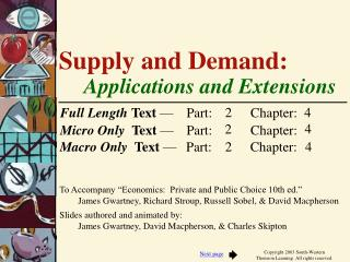 Supply and Demand:  Applications and Extensions