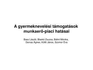A gyermeknevelési támogatások  munkaerő-piaci hatásai Bass László, Blaskó Zsuzsa, Bálint Mónika,