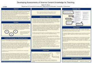 Developing Assessments of Science Content Knowledge for Teaching