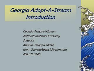 Georgia Adopt-A-Stream Introduction