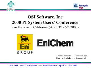OSI Software, Inc 2000 PI System Users' Conference