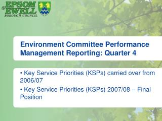 Environment Committee Performance Management Reporting: Quarter 4