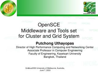 OpenSCE Middleware and Tools set  for Cluster and Grid System