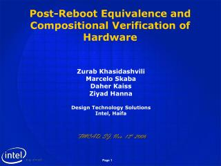 Post-Reboot Equivalence and Compositional Verification of Hardware